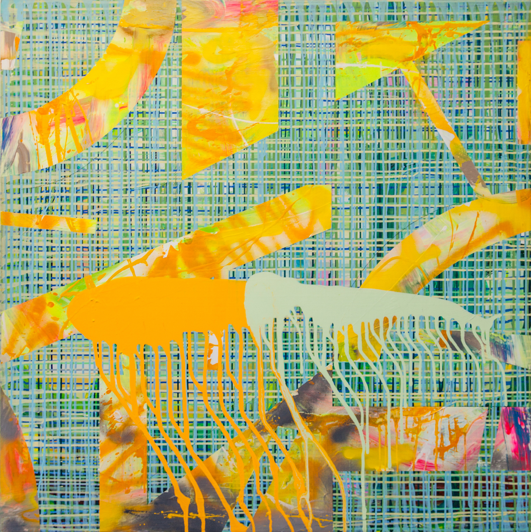 Abstract No.8_48 x 48 inches_Abstract DRIP yellow_48 x 48 inches_at Beauchamp as of July 2017