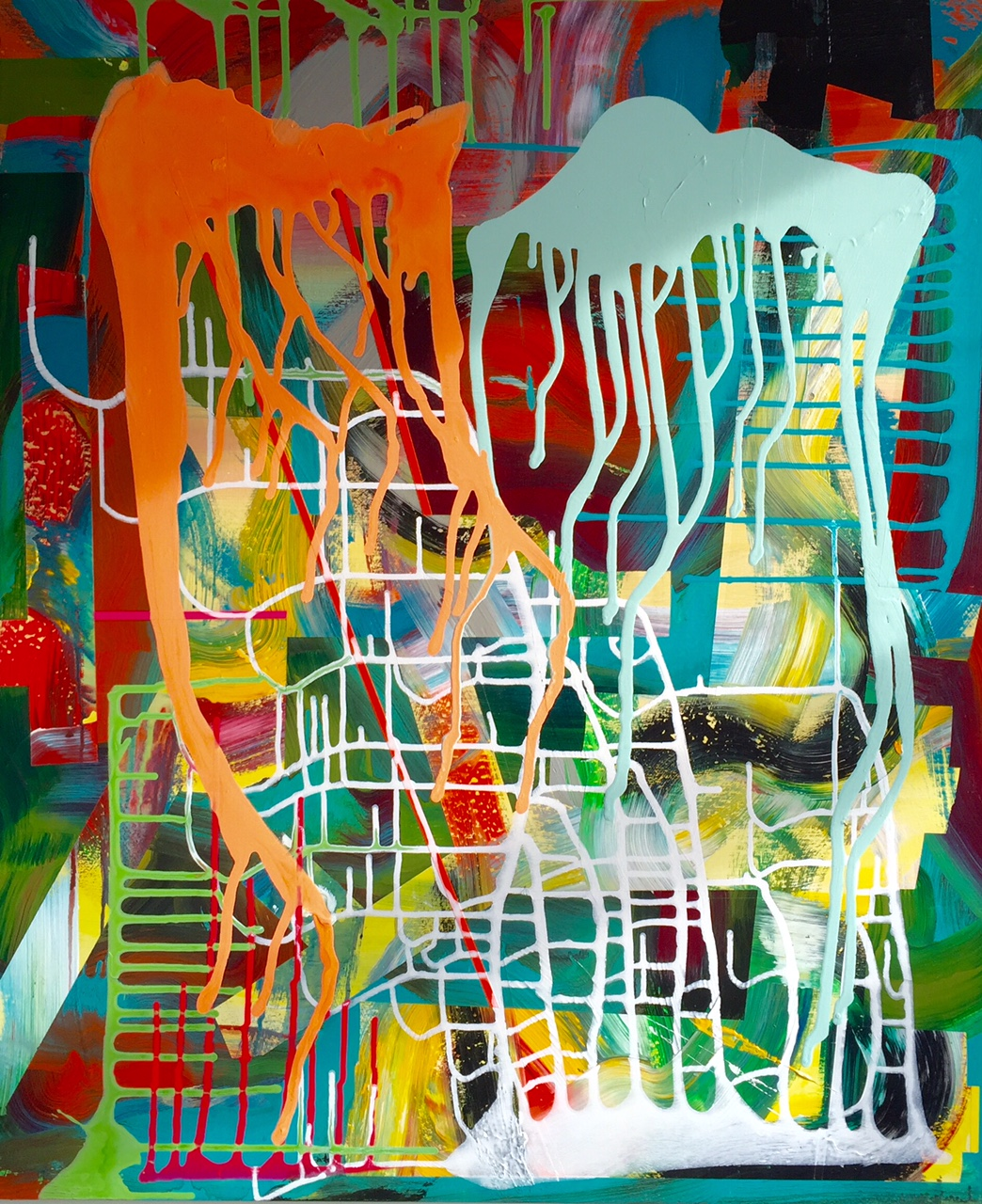 Abstract_acrylic and spray-paint on panel_24 x 30 inches_2016_1