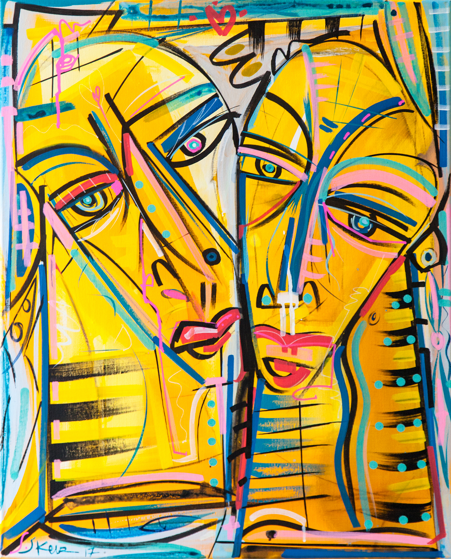 FACES_24 x 30 inches_2 Women on Yellow background on CANVAS_at Skeir Gallery_2017