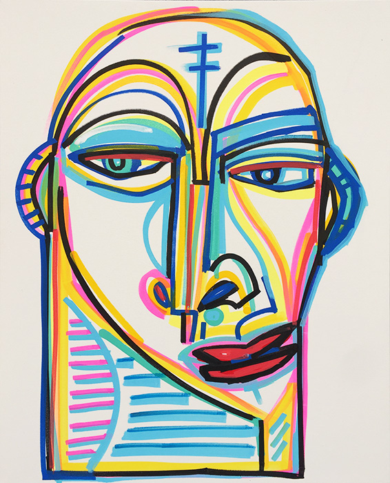 Face No.5_24 x 30 inches_painted on canvas by Shawn Skeir_2018