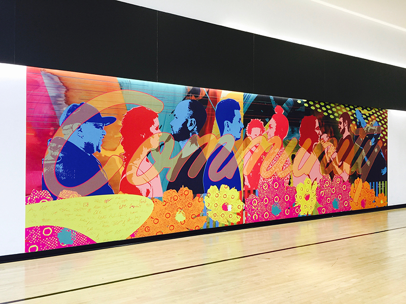 Community__vinyl mural designed by Shawn Skeir in 2016_installed at One Park Place Dec. 2016_commissioned by Daniels Corp_install shot 1