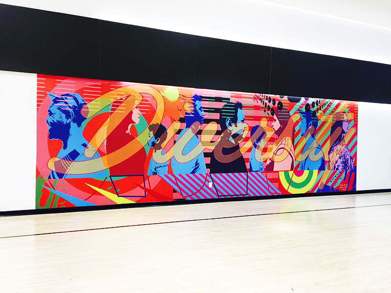 Diversity_vinyl mural designed by Shawn Skeir in 2016_installed at One Park Place Dec. 2016_commissioned by Daniels Corp_install shot 1