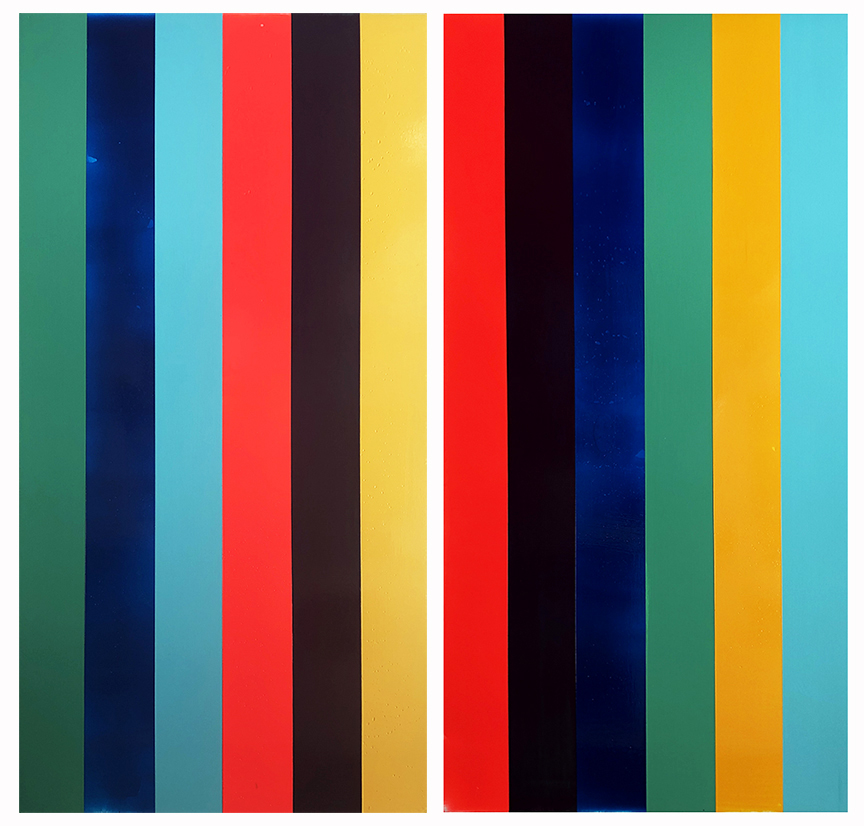 Endless Summer No.7 and No.8_24 x 48 inches_acrylic on panel_Shawn Skeir_TWO PANELS_DIPTYCH_2019